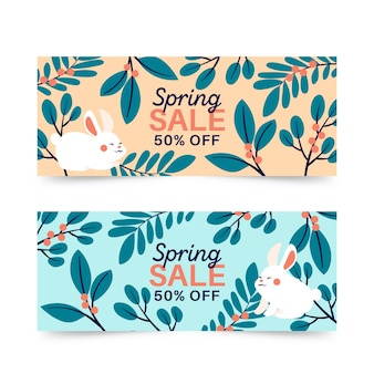 Spring sale banners with bunny