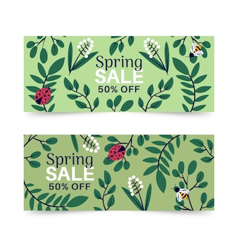 Spring sale banners with ladybug