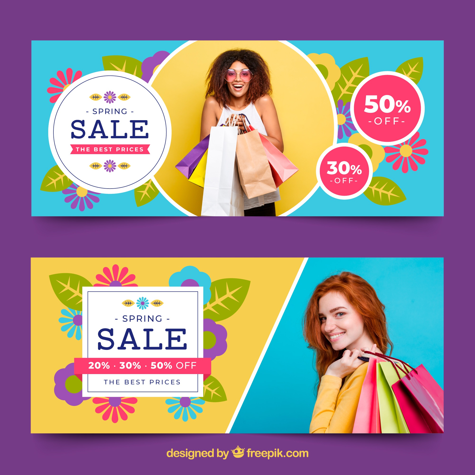 Spring sale banners with photo of woman