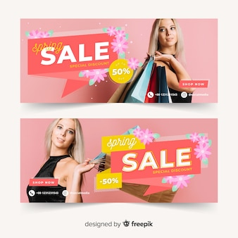 Spring sale banners with photo
