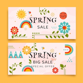 Spring sale banners with rainbows