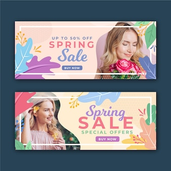 Spring sale banners with woman and flowers