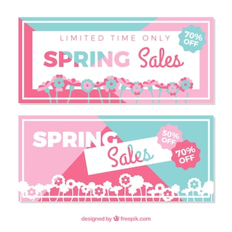 Spring sale banners Free Vector