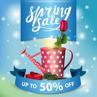 Spring sale blue modern banner with rose in the watering can