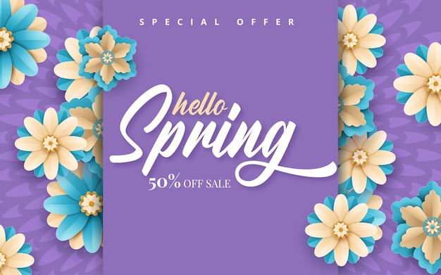 Spring sale. bright advertising background with flowers