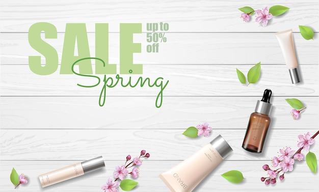 Spring sale cherry blossom organic cosmetic ad template. skincare essence pink spring promo offer flower 3d realistic