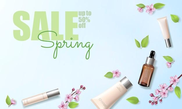 Весенняя распродажа вишни цветут органические косметические объявления шаблон. эссенция по уходу за кожей розовая весна промо предложение цветок 3d реалистичный