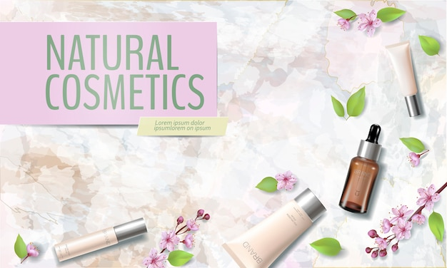 Spring sale cherry blossom organic cosmetic ad template.