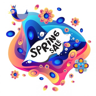 봄 판매 화려한 특별 할인 배너 그림