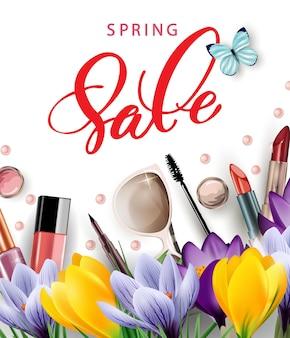 봄 판매 개념 메이크업 아티스트 개체 템플릿 벡터와 화장품 및 패션 배경