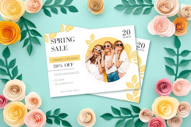 Spring sale concept with flowers
