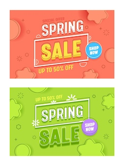 Spring sale coral green horizontal banner template set