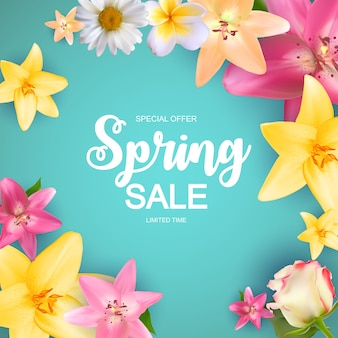 Spring sale cute banner with flowers