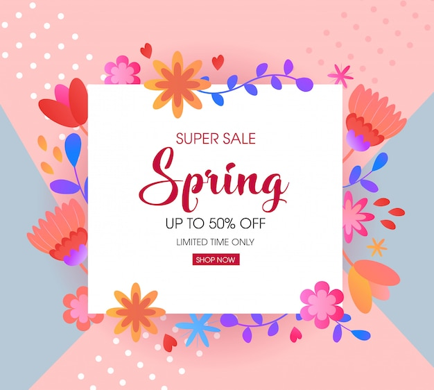 Spring sale design template with cute abstract flowers