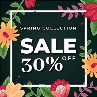 Spring sale design with colorful flowers and leaves