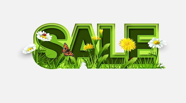 Spring sale design with spring flowers on white