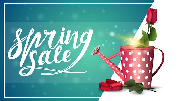 Spring sale, discount banner template with rose in the watering can
