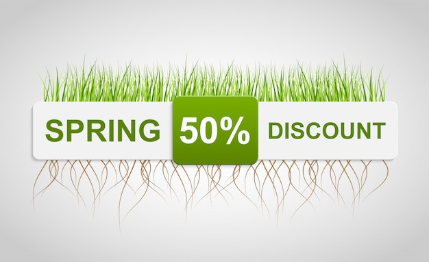 Spring sale discount. banner template.