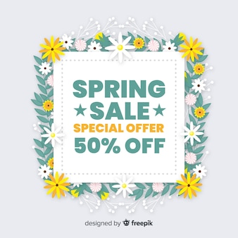 Spring sale flat background