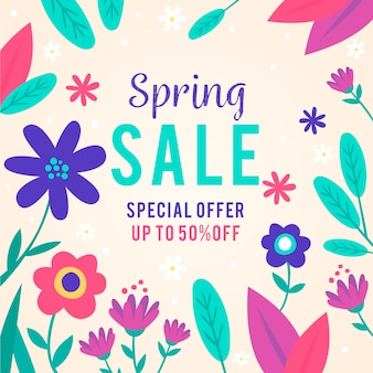 Spring sale in flat design
