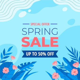 Spring sale in flat design