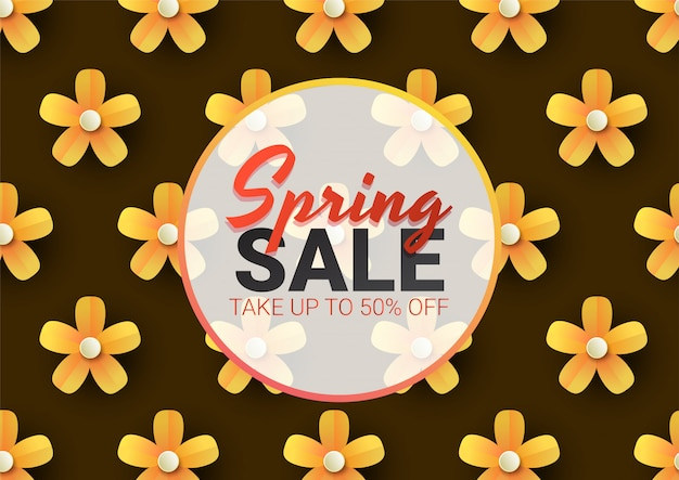 春のセール花広告ポスター、ボード、リアルな花、葉とバナー