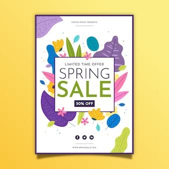 Весенняя распродажа флаер плоский дизайн шаблона с разноцветными листьями