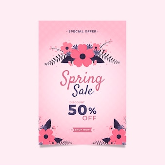 Весенняя распродажа флаер плоский дизайн шаблона с розовыми цветами
