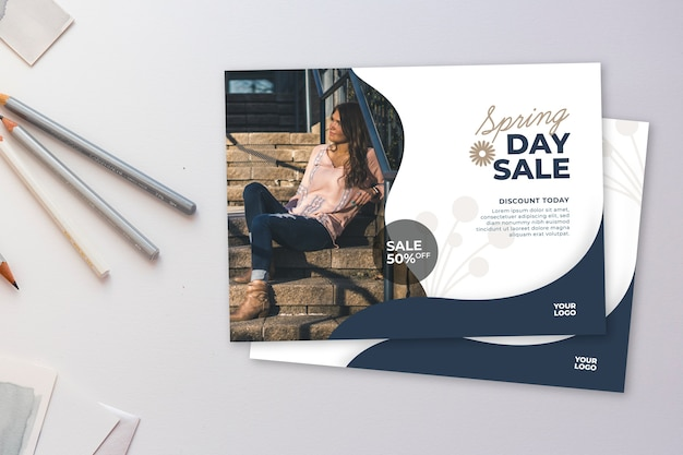 Spring sale flyer mock-up on white background