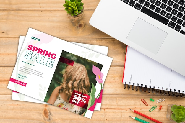 Spring sale flyer mock-up with picture