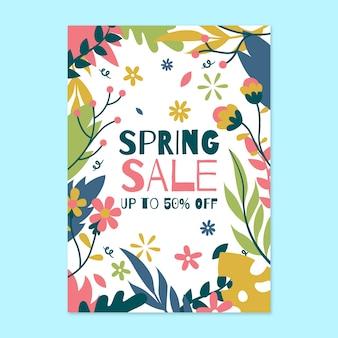 Spring sale flyer template in flat design