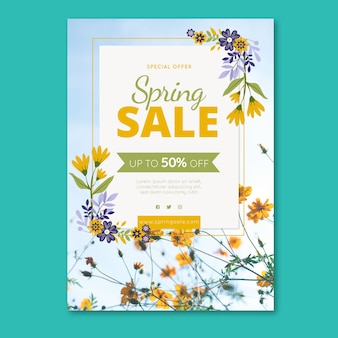 Spring sale flyer template with colorful flowers