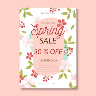Spring sale flyer template with flowers