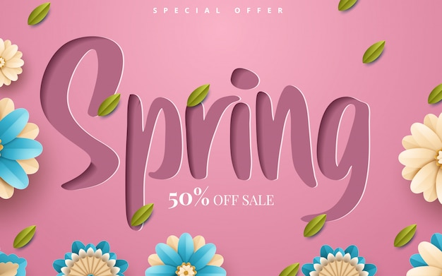 Spring sale flyer template with paper cut flowers and leaves with frame