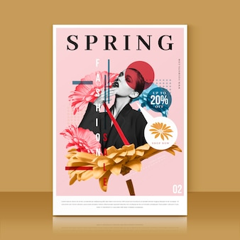 Spring sale flyer template with photo