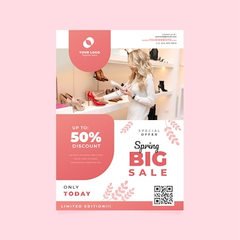 Spring sale flyer template with woman looking at shoes