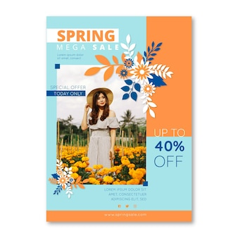 Spring sale flyer template with woman surrounded by flowers