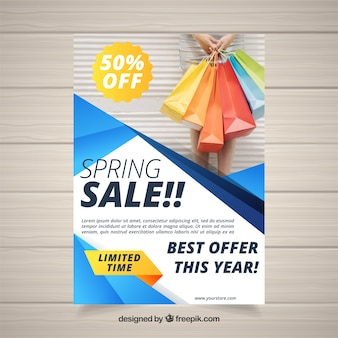 Spring sale flyer with abstract shapes