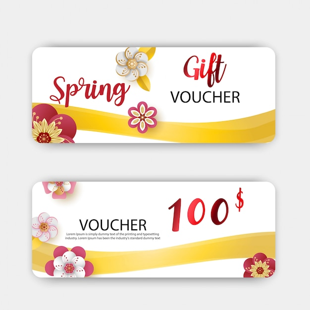 Spring sale gift vouchers discount, colorful flowers design.