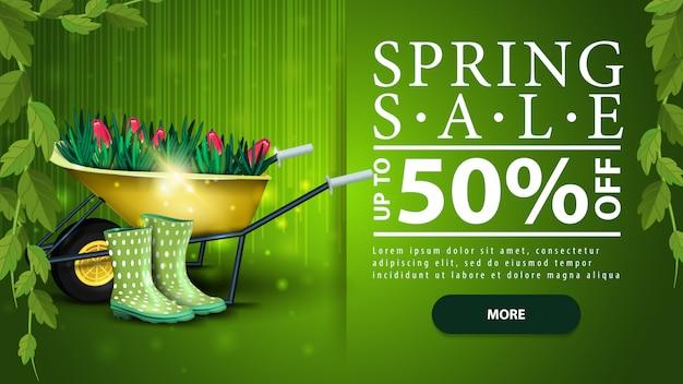 Spring sale, green horizontal discount modern banner