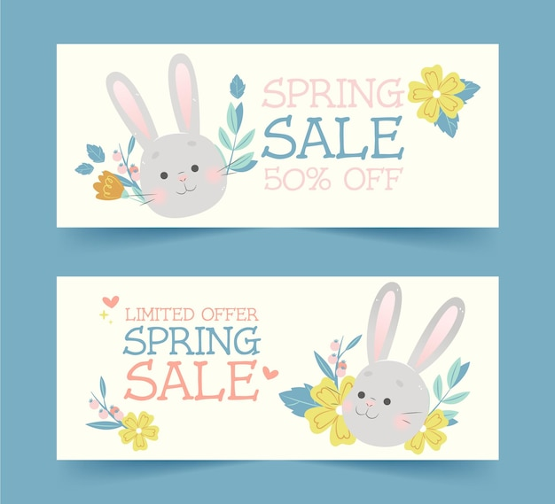 Spring sale  hand drawn banners design