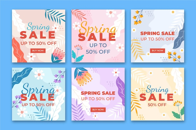 Spring sale instagram post collection concept