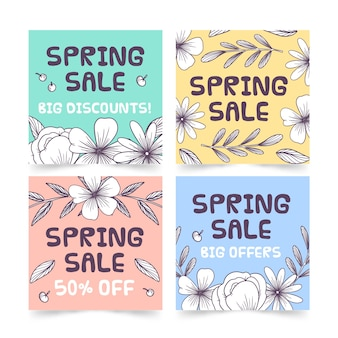Spring sale instagram post collection with colorful flowers