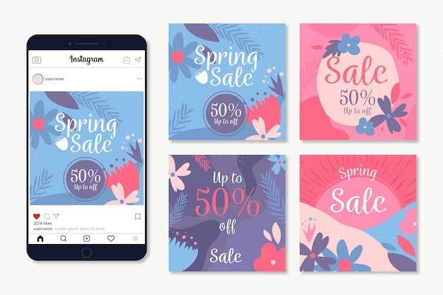Spring sale instagram post collection with flowers