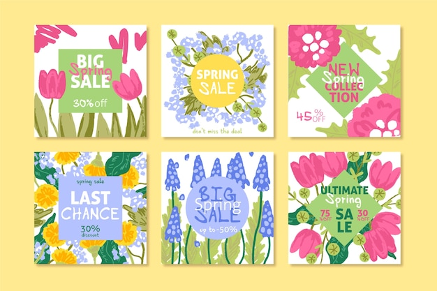 Spring sale instagram post collection with multicolored assortment of flowers