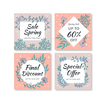 Spring sale instagram post set