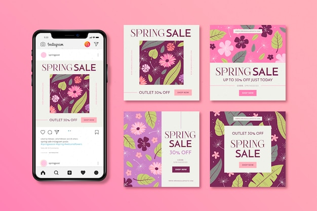 Spring sale instagram post with smartphone