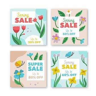 Set di post di instagram di vendita di primavera