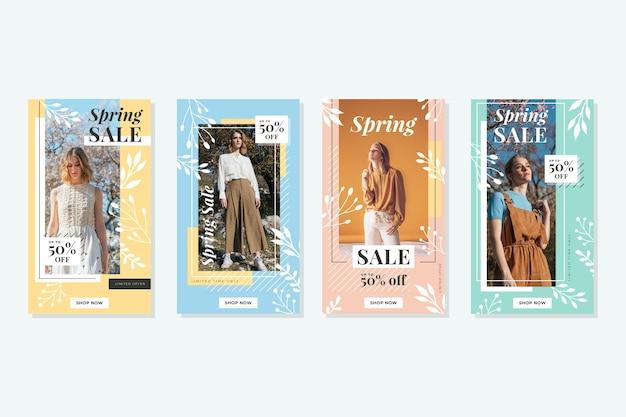 Storie di instagram di vendita di primavera Vettore gratuito