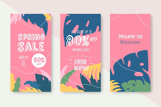 Spring sale instagram story collection concept